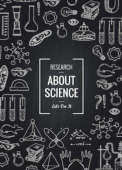 Naszkicowane elementy nauki lub chemii zebrane na czarnej tablicy