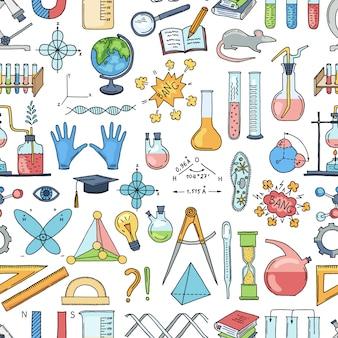 Naszkicowany wzór elementów nauki lub chemii