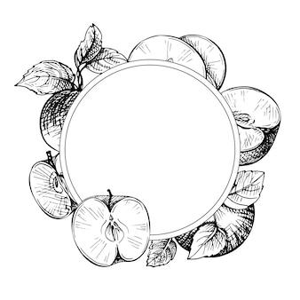 Naszkicuj grawerowaną ramkę z jabłkami, gałęzią i liśćmi. owoc jabłkowy.