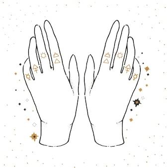 Naszkicuj ilustrację graficzną za pomocą symboli mistycznych i okultystycznych. szczęśliwe ręce.