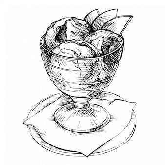 Naszkicuj kulki lodów w grafice w misce glasse. ręcznie rysowane ilustracja fast food. deser zarys ołówkiem. atrament, grawerowane szkice doodle