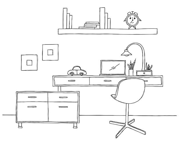 Naszkicuj pomieszczenie. krzesło biurowe, biurko, różne przedmioty na stole. obszar roboczy szkicu. ilustracja