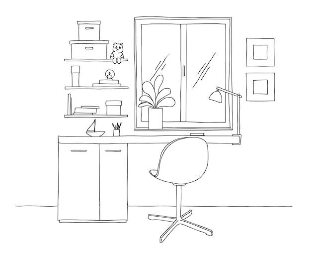 Naszkicuj pomieszczenie. krzesło biurowe, biurko, różne przedmioty na stole. obszar roboczy szkicu. ilustracja.
