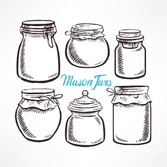 Naszkicuj różne kształty słoików z masonem. ręcznie rysowane ilustracji