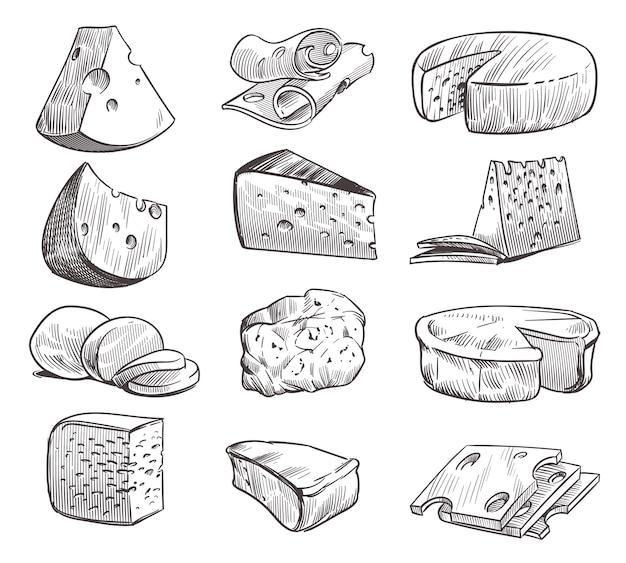 Naszkicuj ser. różne rodzaje serów. świeża przekąska cheddar, feta i parmezan.