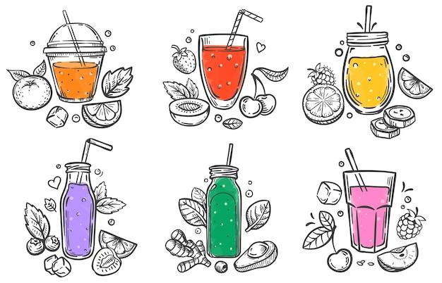 Naszkicuj smoothie. zdrowe pożywienie, szklanka koktajli owocowych i jagodowych i pokrojone naturalne owoce ręcznie rysowane zestaw ilustracji.