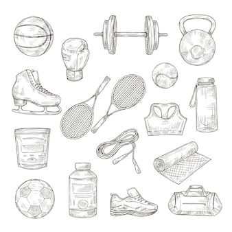 Naszkicuj sprzęt sportowy. piłka, hantle i rakiety tenisowe, rękawice bokserskie i skakanka, żywienie sportowe. doodle zestaw fitness. ilustracja piłka nożna i tenis, szkic sprzętu do sportu