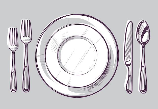Naszkicuj talerz, widelec i nóż. sztućce obiadowe i puste naczynie na stole