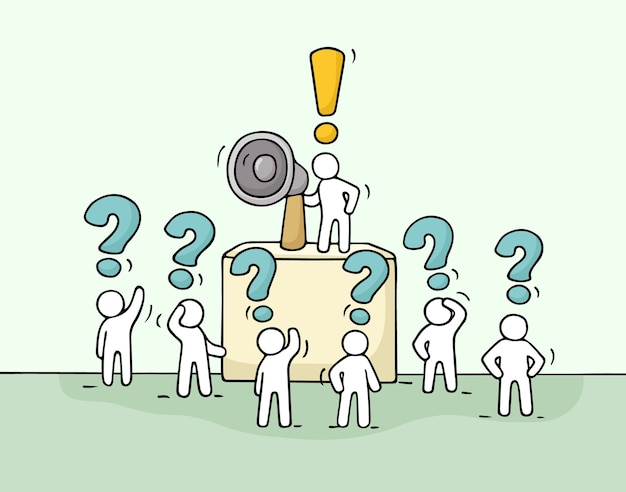 Naszkicuj tłum małych ludzi z pytaniami. doodle urocza miniatura z liderem na trybunie i megafonem. ręcznie rysowane ilustracja kreskówka