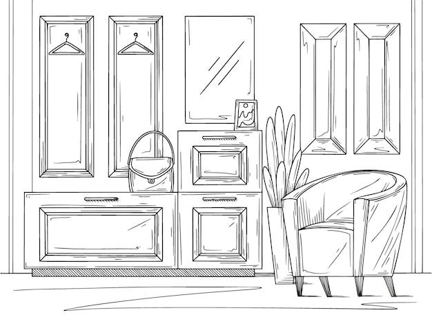 Naszkicuj wnętrze. meble do przedpokoju, różne dekoracje i inne elementy.