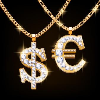 Naszyjnik z biżuterią ze znakiem dolara i euro z diamentami na złotym łańcuszku. styl hip-hopowy.