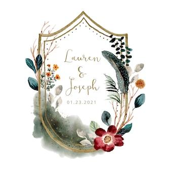 Naszywka ślubna z piękną mglistą kwiecistą akwarelą ramką