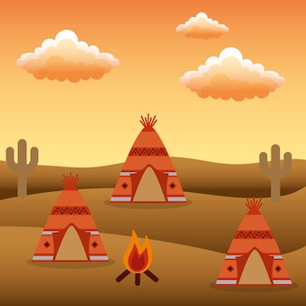 Native american camp teepees ognisko kaktus