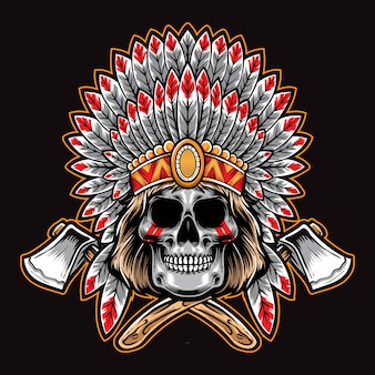 Native american czaszka z siekierą