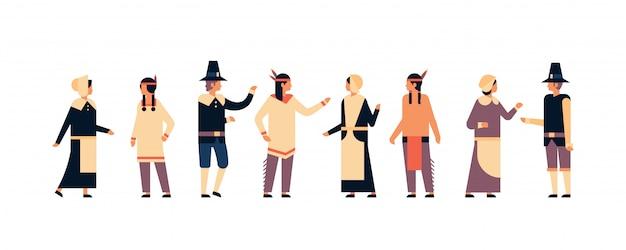 Native american indian ludzi święto dziękczynienia obchodzi transparent