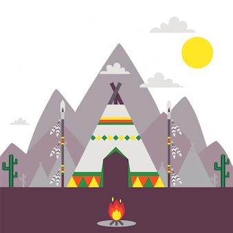 Native american indian namiot, tradycyjna tipi ilustracja