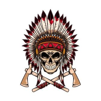 Native indian szef czaszka ze skrzyżowanymi tomahawkami na białym tle. element projektu logo, etykieta, godło, znak.