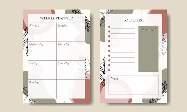 Natura abstrakcyjny kształt tygodniowy planner szablon premium wektor do druku