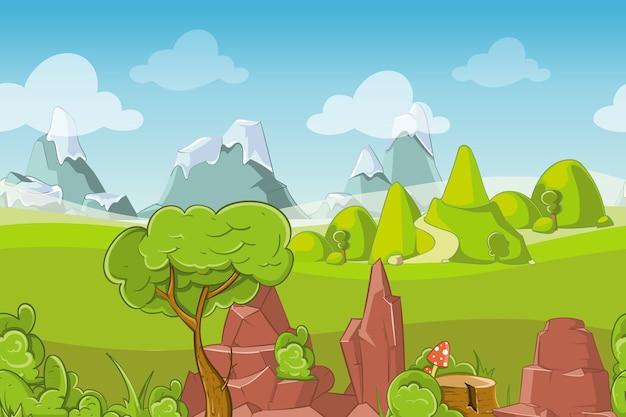 Natura bezszwowe wektor krajobraz ze wzgórzami, drzewami i górami. trawa na zewnątrz nieba, lato kreskówka łąka, ilustracja panorama sezonu