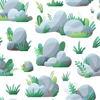 Natura bezszwowy wzór z szarymi kamieniami i trawą