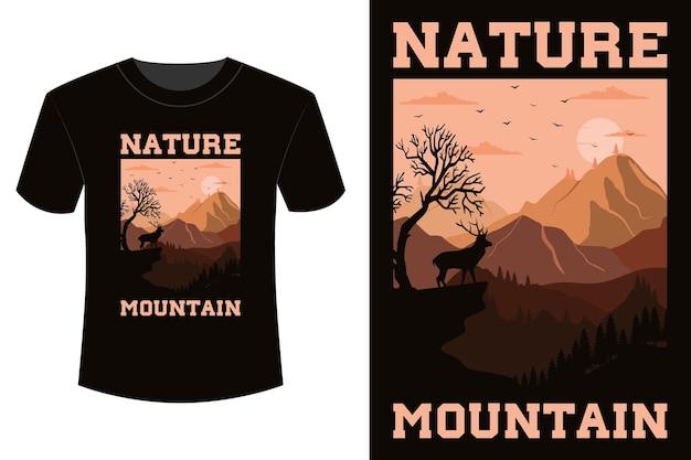 Natura górska koszulka w stylu vintage retro