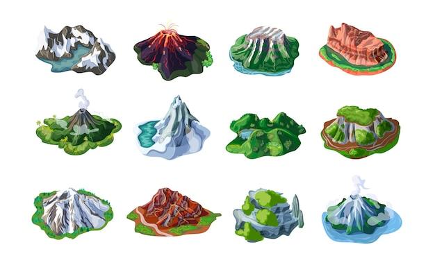 Natura górskie krajobrazy z wierzchowcami wulkany wzgórza klify skały szczyty o różnej rzeźbie na białym tle
