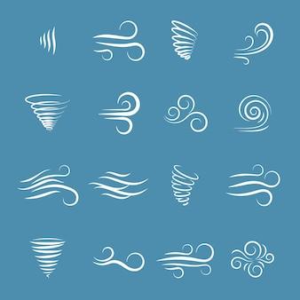 Natura ikony wiatru, płynące fale, chłodna pogoda, klimat i ruch, ilustracji wektorowych