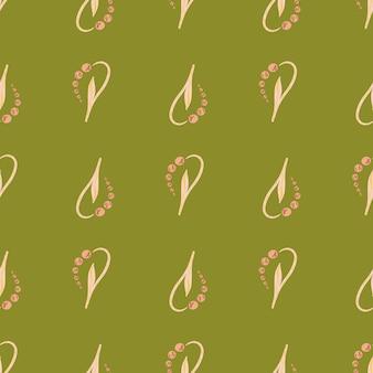 Natura kwiat wzór z jasnoróżowej konwalii kwiaty kształty. zielone tło. ilustracji. projekt wektor dla tekstyliów, tkanin, prezentów, tapet.
