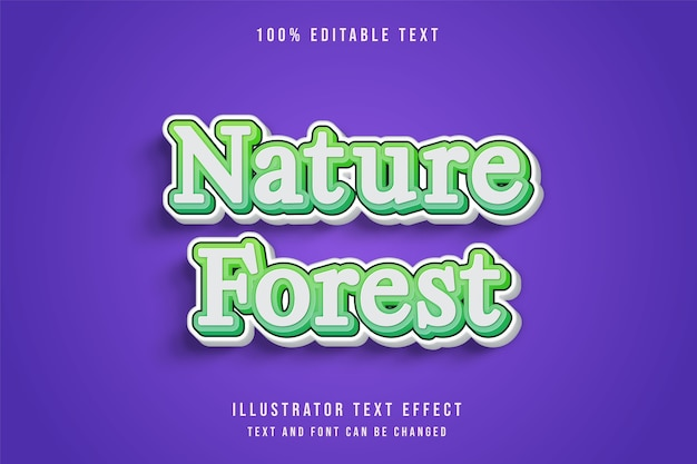 Natura las, 3d edytowalny efekt tekstowy zielony efekt gradacji ładny styl gry