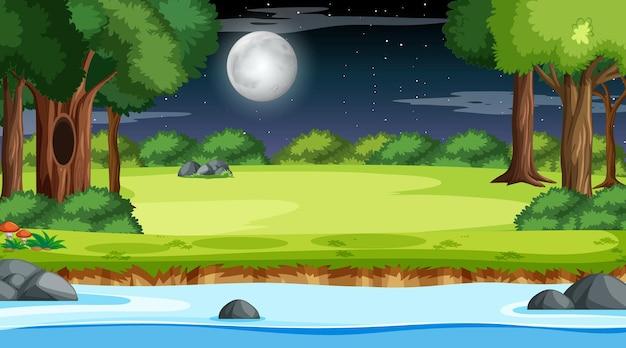 Natura las krajobraz w nocnej scenie z długą rzeką przepływającą przez łąkę
