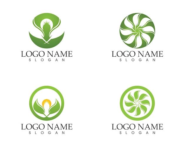 Natura liść ikona logo szablon wektor