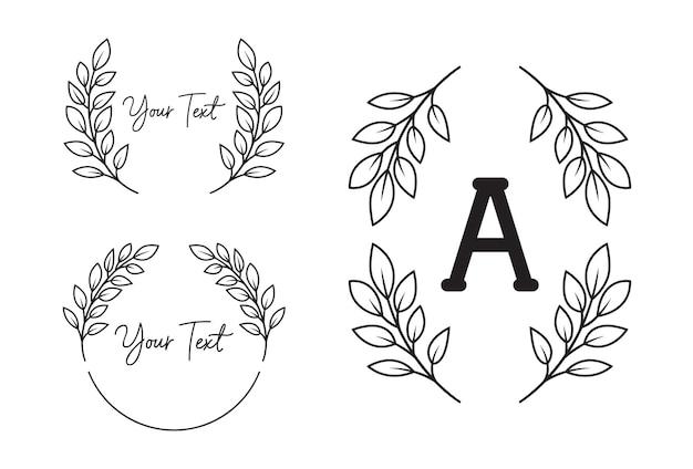 Natura liść liści wieniec laurowy ramki granicy monogram styl konturu