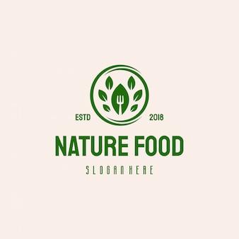 Natura logo zdrowej żywności logo w stylu retro vintage projektuje wektor