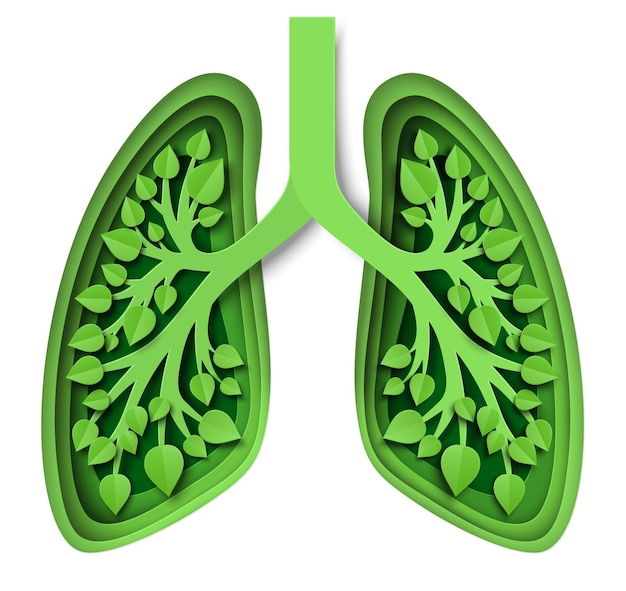 Natura płuca z liśćmi ilustracji wektorowych w stylu sztuki papieru zielone płuca planety ziemi zapisz env...