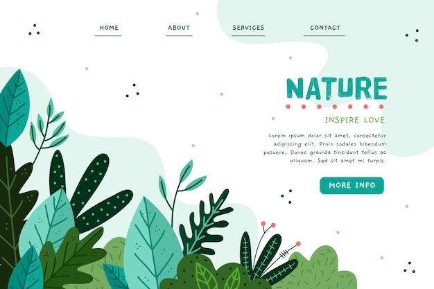 Natura ręcznie rysowane szablon strony docelowej