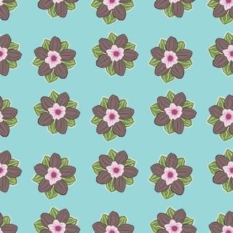 Natura ręcznie rysowane wzór z beżowym anemonem pąki kwiatowe ornament. jasne niebieskie tło. ilustracji. projekt wektor dla tekstyliów, tkanin, prezentów, tapet.