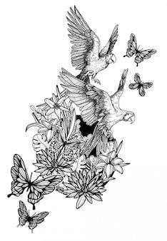 Natura ręka rysunek kwiaty ptaki i motyl szkic czarno-białe na białym tle