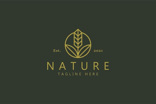 Natura roślin i logo gospodarstwa na białym tle na miękkiej zieleni