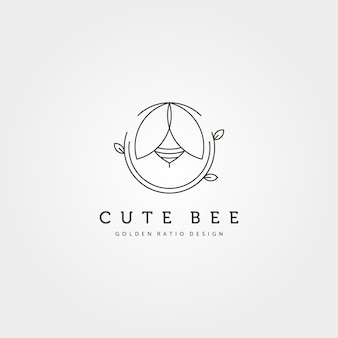 Natura słodkie pszczoły kreatywne logo wektor symbol ilustracja projekt