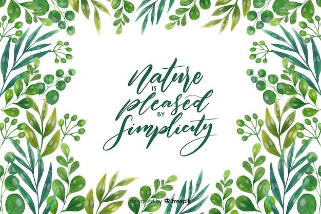 Natura tło z cytatem napis