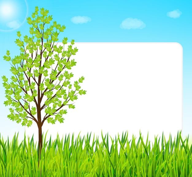 Natura tło z zieloną trawą, drzewami i niebieskim niebem