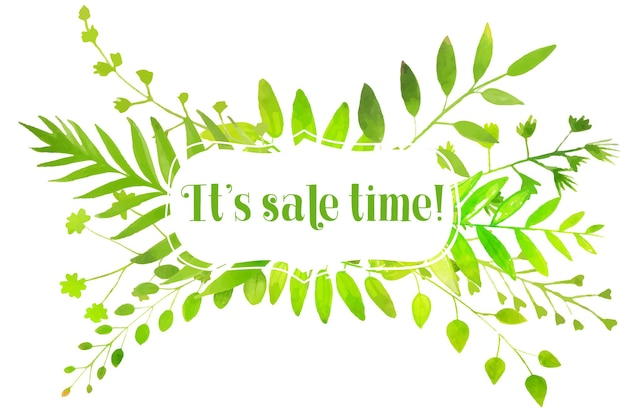Natura transparent akwarela jasnozielone liście i tekst jego czas sprzedaży