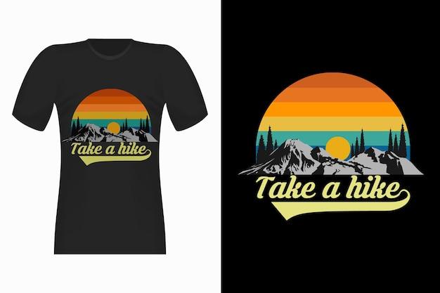 Natura Weź Udział W Wycieczce Ręcznie Rysowane Projekt Koszulki W Stylu Retro W Stylu Vintage Premium Wektorów