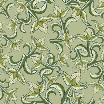 Natura wzór z elementami kwiecisty kwiaty tulipanów streszczenie styl. losowy nadruk w jasnozielonych odcieniach. projekt graficzny do owijania tekstur papieru i tkanin. ilustracja wektorowa.