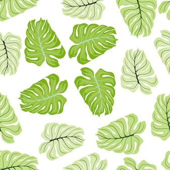 Natura wzór z pastelowych monstera zielonych kształtów. na białym tle tło. wydruk botaniczny.