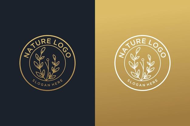 Natura z luksusowym logo w stylu vintage z roślinnym złotem