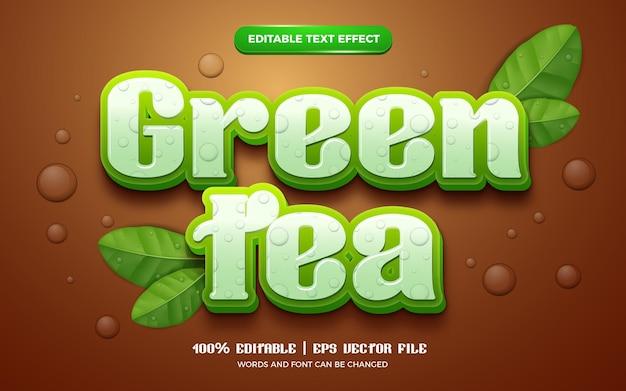 Natura zielona herbata pozostawia świeży, edytowalny efekt tekstowy 3d
