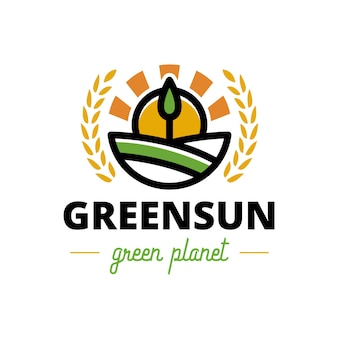 Natura zielone drzewo herb słońca logo