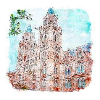 Natural history museum london szkic akwarela ręcznie rysowane ilustracji