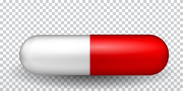 Naturalistyczna czerwono-biała kapsułka. lekarstwo na choroby. szczepionka w pigułce. ilustracja